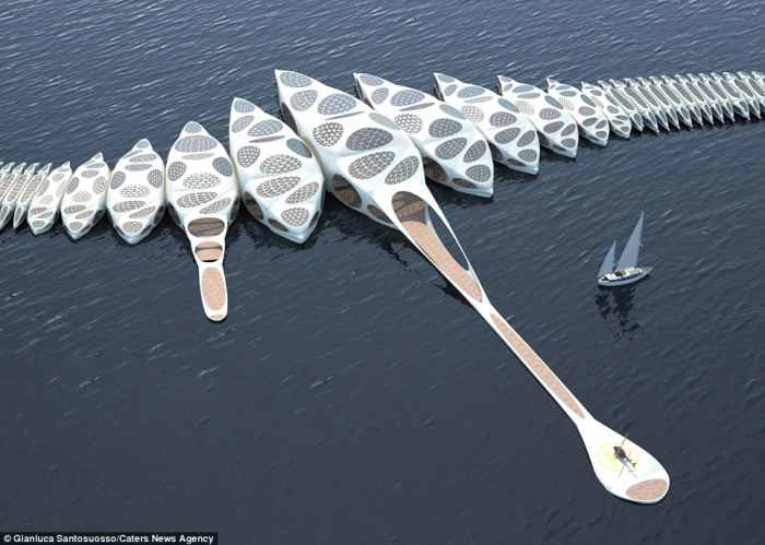 Features a helipad and boat docks at each end of the spine-shaped floatel. Image via DailyMail
