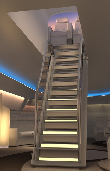 A staircase might be more suited for smaller executive jets. Image via Windspeed Technologies