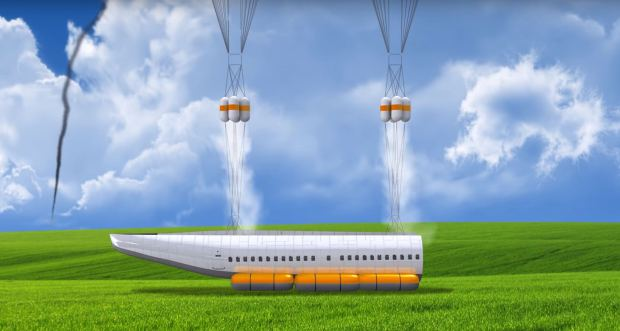 Parachutes and cushions help the landing. Image via Vladimir Tatarenko