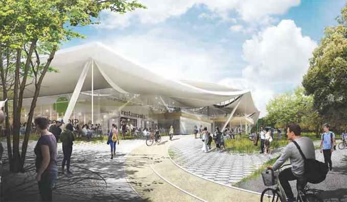 The proposed plan features plenty of bike parking spaces as well as biking paths. Image via Google