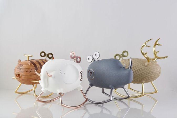 Chan's jewelry boxes take shape as endangered animals - Tiger, Rhino, Elephant and Deer Image via Wai Lim Chan