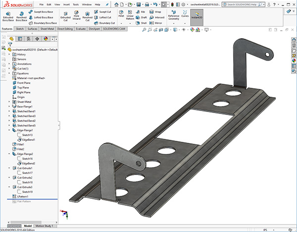 Solidworks sheetmetal pivot bracket