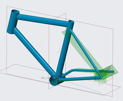 Creo top down bicycle skeleton surface model
