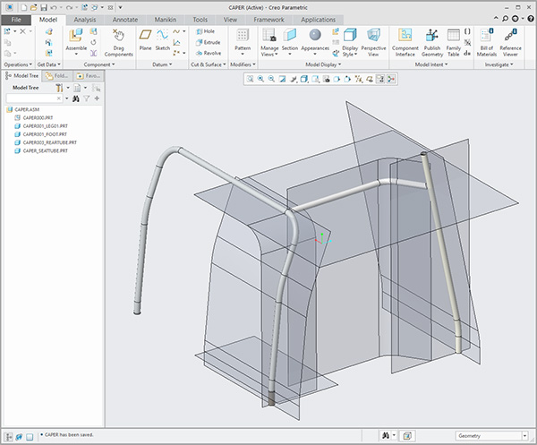 Creo Curves & Surfaces generate this tubular frame structure
