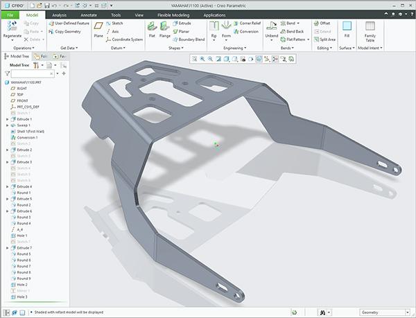 Creo 6.0 sheet metal mount YAMAHA FZ1100