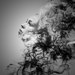 A smoke effect on a woman done in photoshop