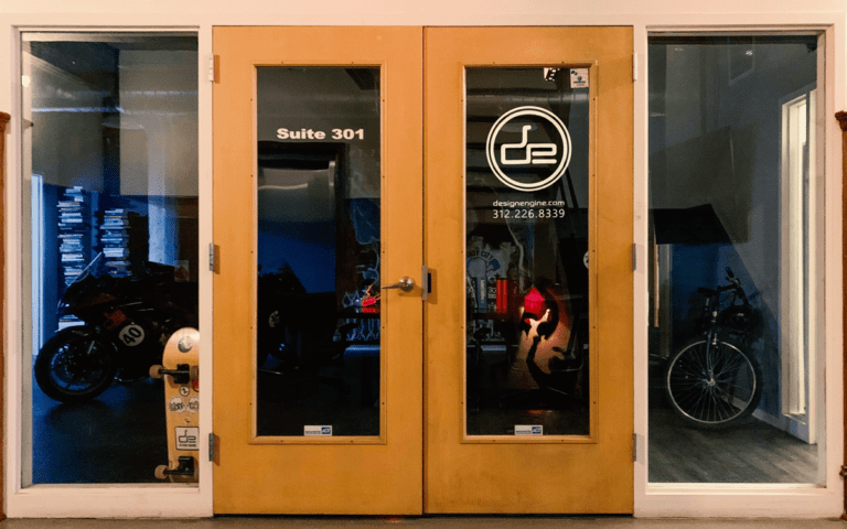 Front door of the Design Engine office location