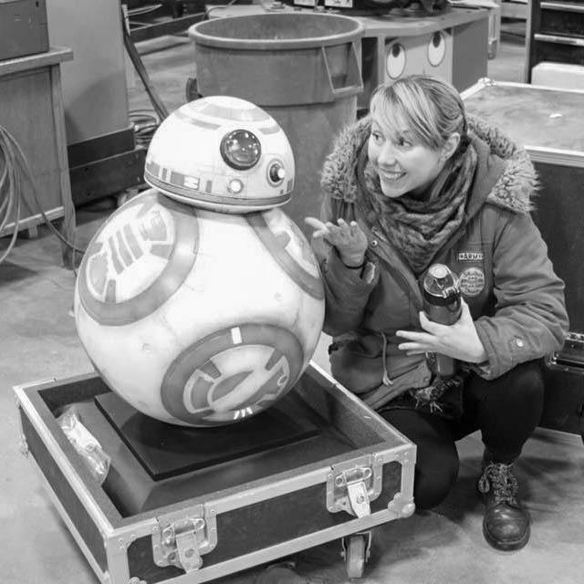Liz Wisdom with BB8 replica