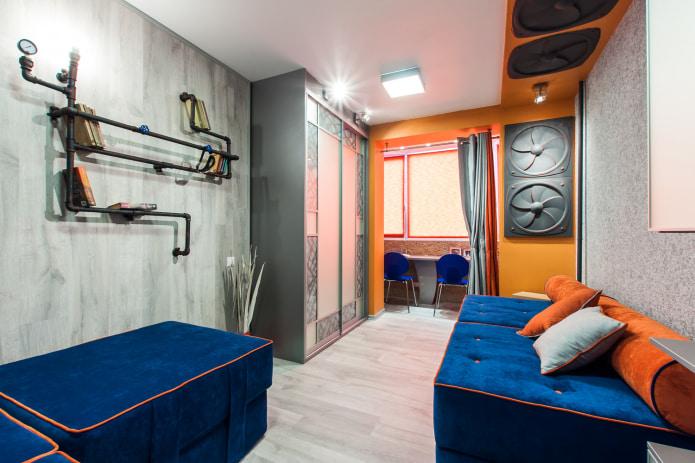 комната в стиле лофт