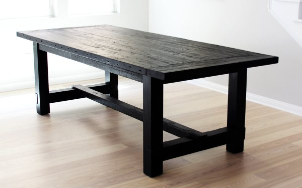 Rustic Farmhouse Dining Room Table Black
