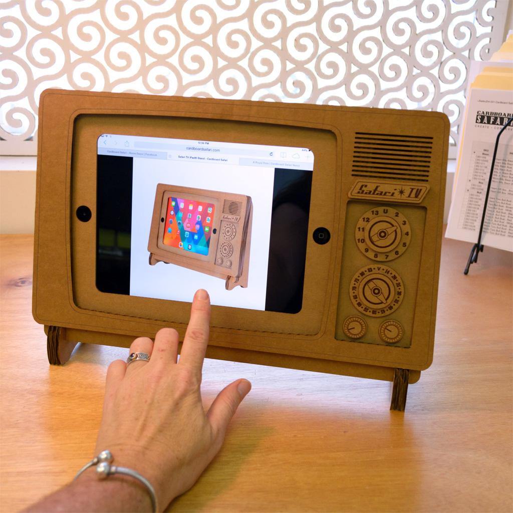 ipad stand for chair wheelchair car the safari tv cardboard design milk