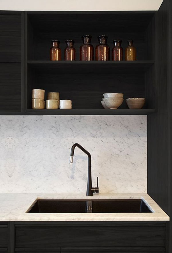 black faucet kitchen crosley cart is the new design milk source photo by armelle habib