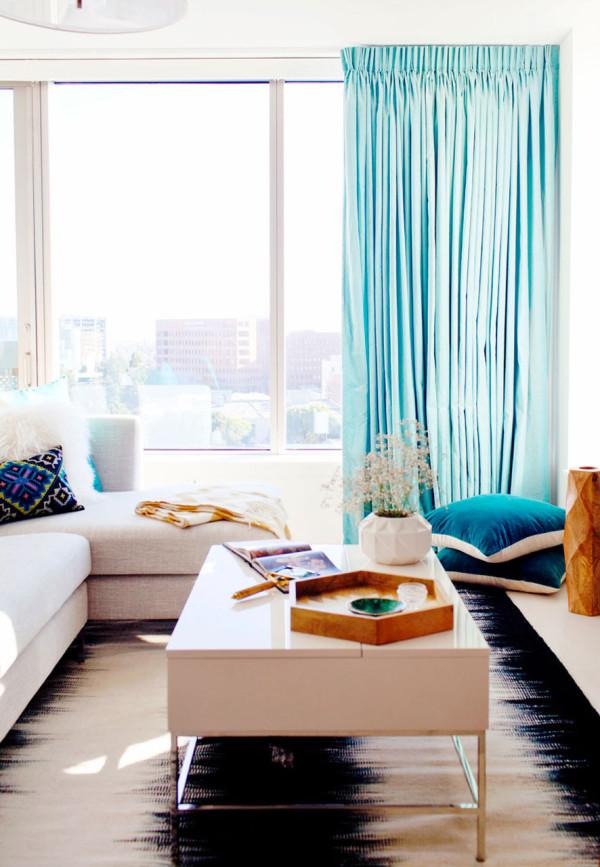 small sectional sofa west elm teal sleeper fresh bachelorette loft in downtown los angeles - design milk