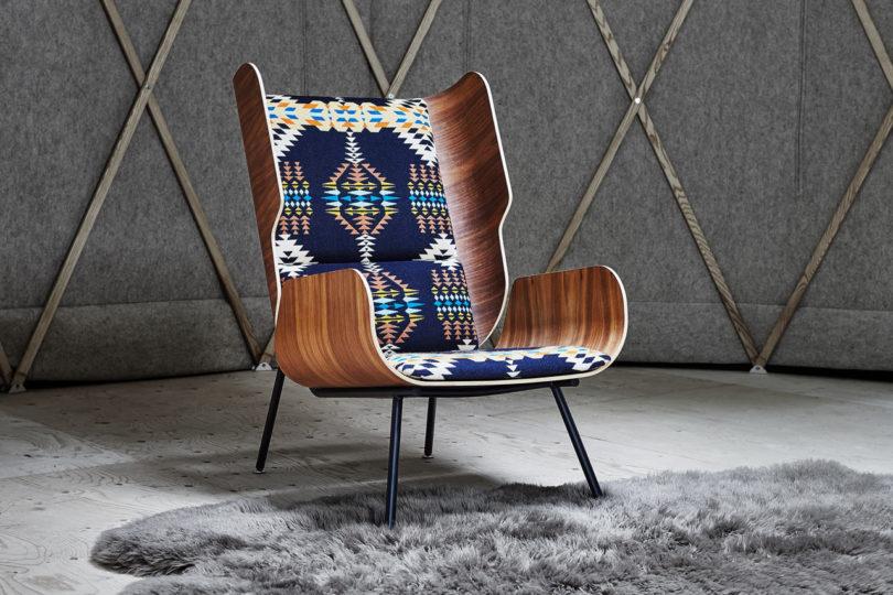 mid century rocker chair vine gus* modern x pendleton woolen mills collaborate on chairs