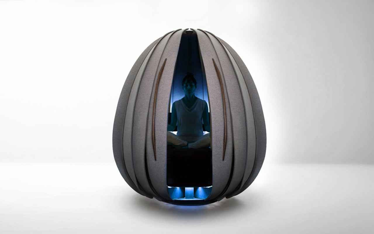 energy pod chair outdoor double rocking open vessel meditation pods give you a break at the office