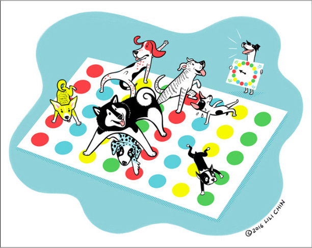 Dogs Playing Games by Lili Chin for dog game night