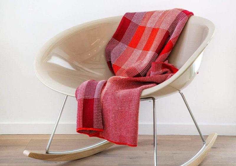 Kelly Harris Smith Buffalo Plaid Throw over a modern rocking chair