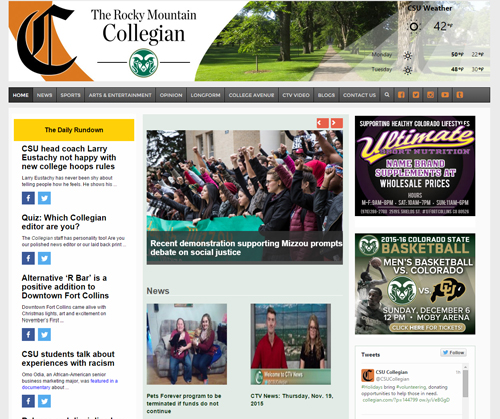 Website Design: Rocky Mountain Collegian - The Designs of Russell