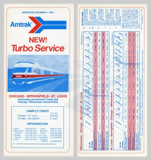 A 1973 Amtrak schedule promises a faster commute in the Midwest. Photo courtesy of Amtrak.