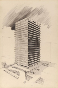 Milton Schwartz. 320 Oakdale Apartment Building,      Chicago,      Illinois,      Perspective Drawing, 1953/54. Gift of Audrey K. Schwartz.