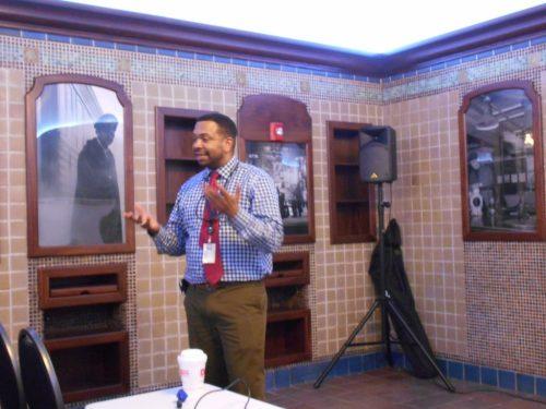 Paul Sanders explains the careful restoration of the barber shop in the former Men's Lounge area.