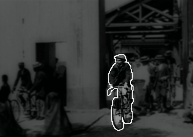 Bright biker exiting the factory
