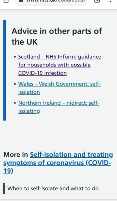 Links at the very bottom of the NHS page to different guidance for people in Scotland, Wales and Northern Ireland.