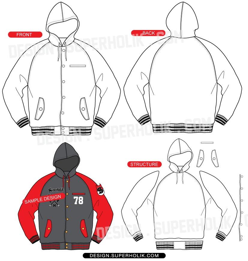 Hooded Raglan Varsity Jacket