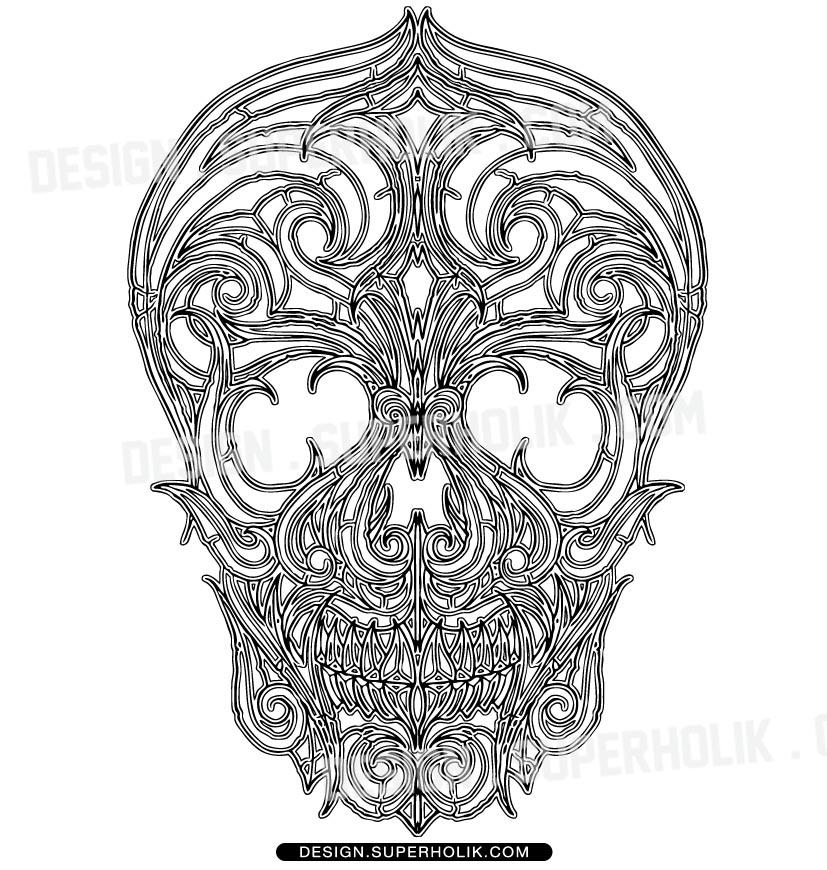 skull line art