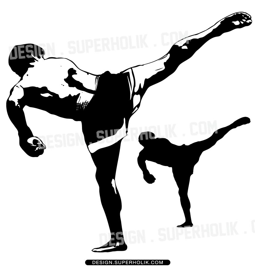 MMA fighter vector art