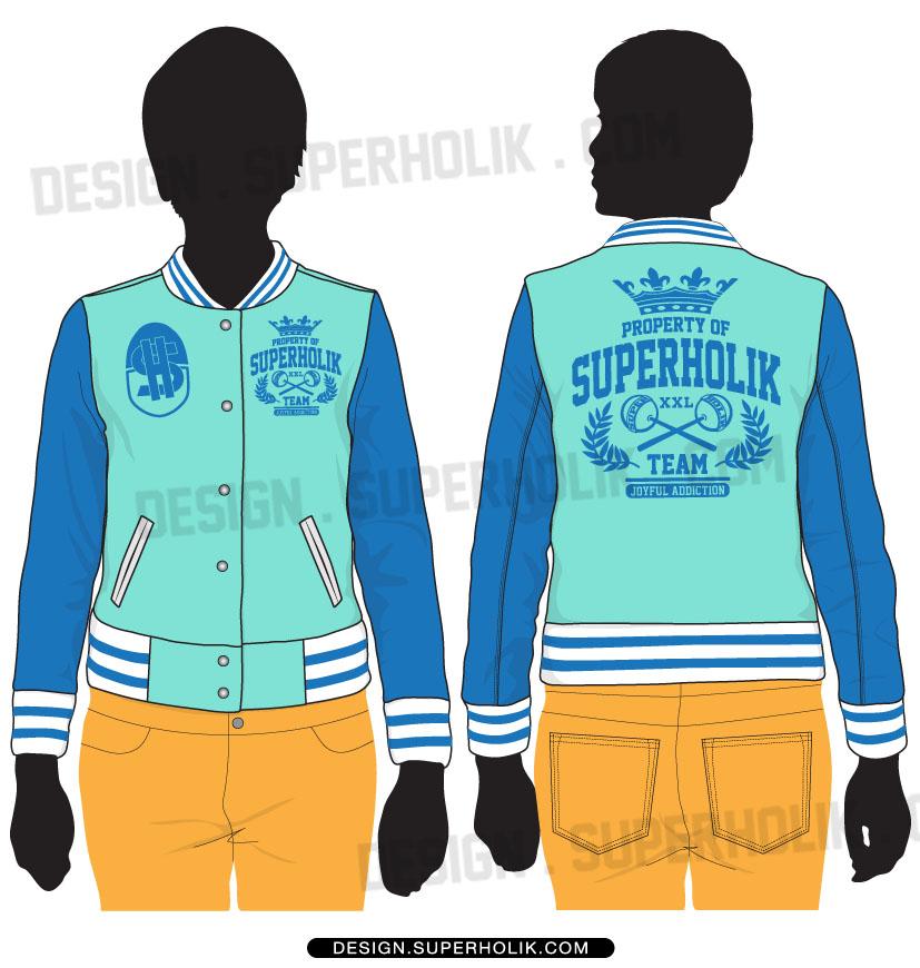 Varsity bomber jacket technical fashion illustration with rib. Varsity Jacket Template Hellovector