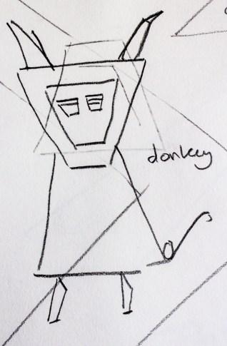 Letter D: donkey sketch