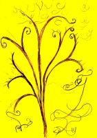 Yucca drawn with pencilon yellow paper scanned at high contrast