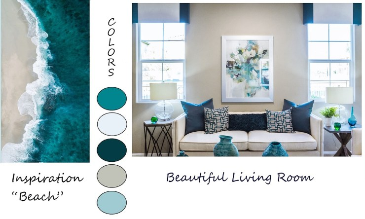 shows how to use the sea to pick colors for decorating a home.  Decorating with colors inspired by nature.