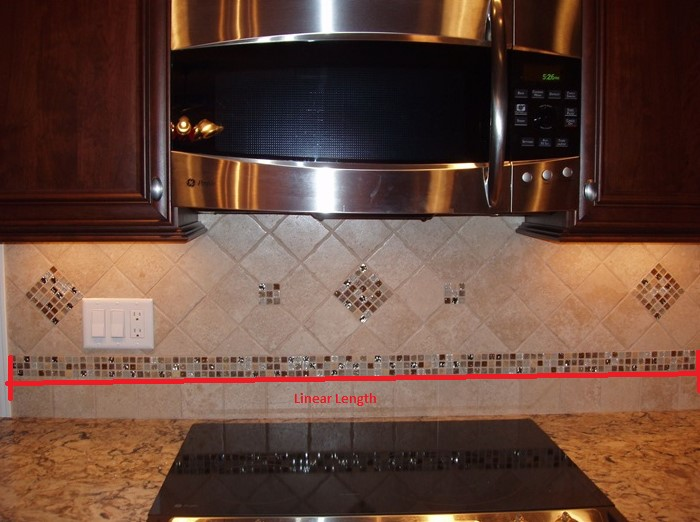 To figure out how much tile I need for my kitchen backsplash I first measure the linear length of the counter-tops