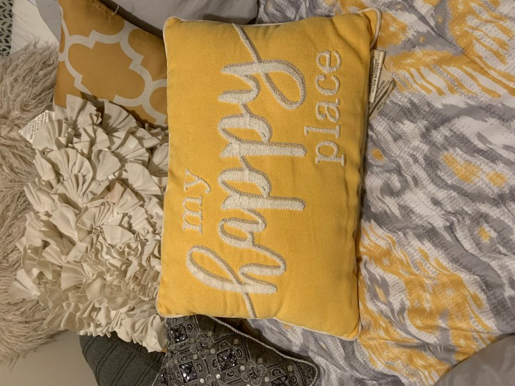pillow with my happy place written on it