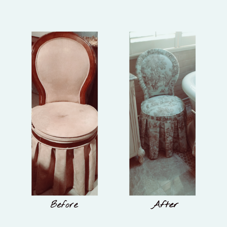 Before and After of Antique Chair that was reupholstered in Blue Toile Fabric.