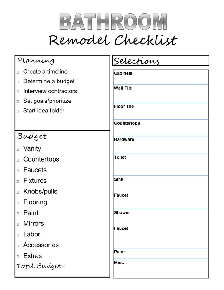 Bathroom Remodel Checklist Printable
