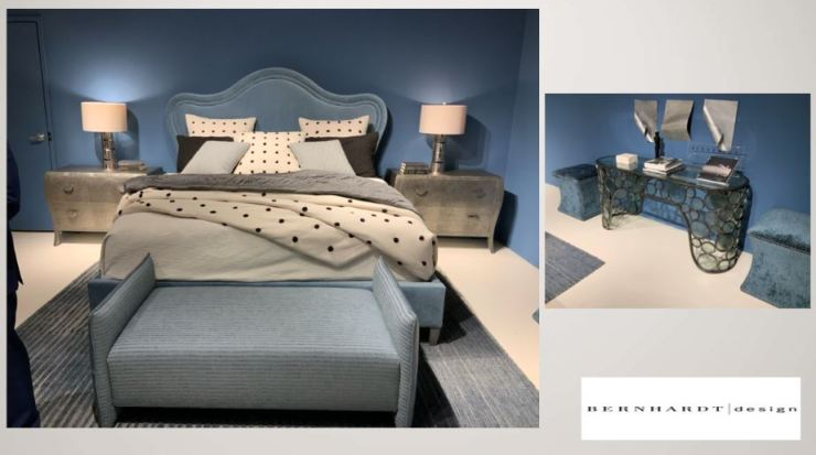 designer bedroom with upholstered headboard