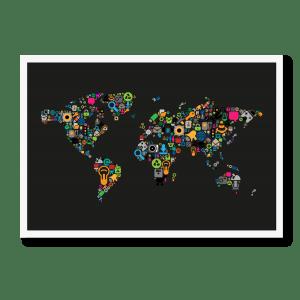 Verdenskort i ikoner i sort
