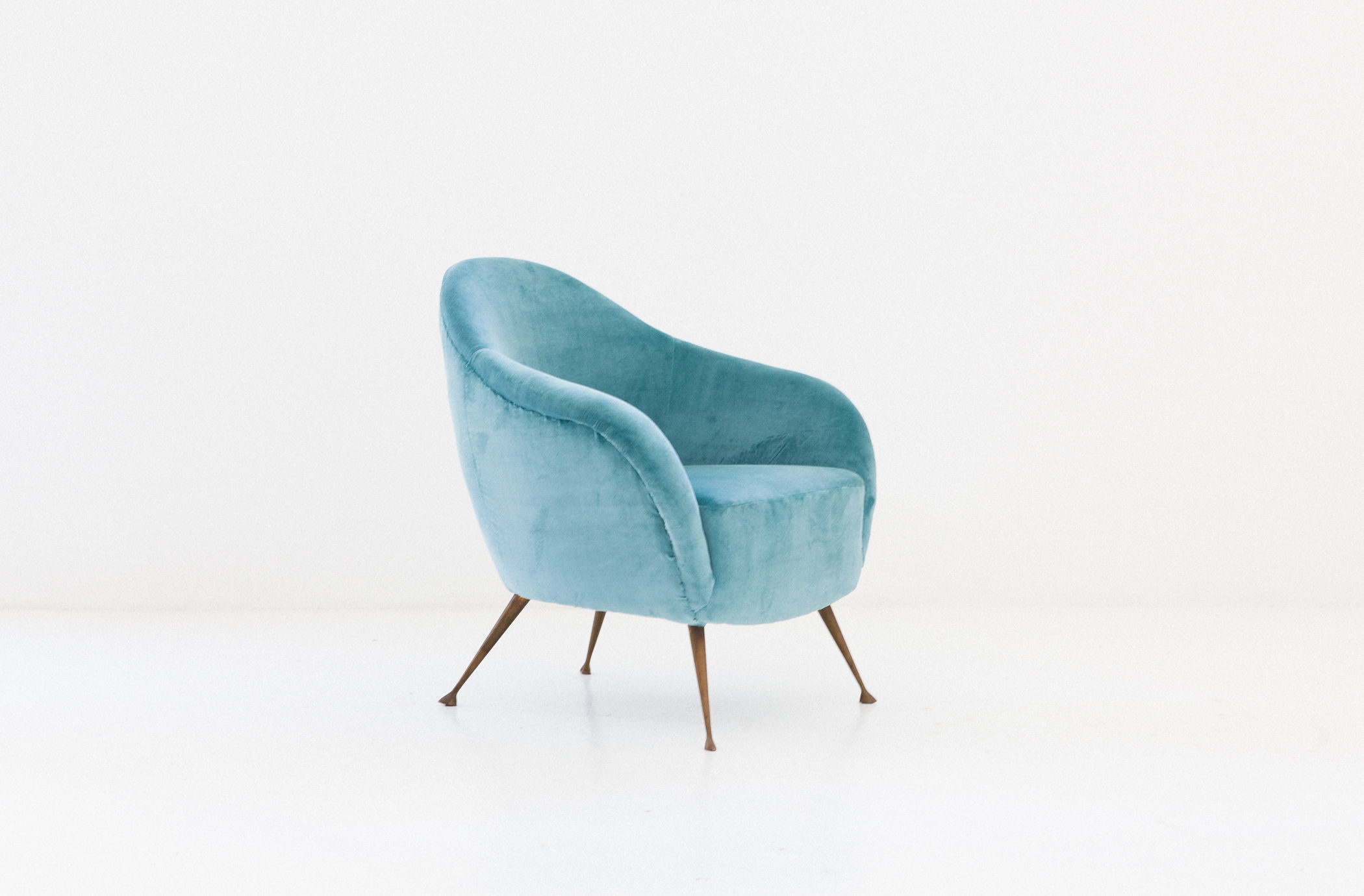 turquoise lounge chair chairs for sale velvet and brass legs italy 1950 design prev
