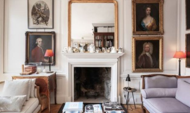 living room fireplace and georgian art frames