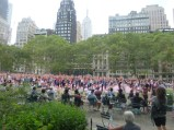Free yoga class on a Thursday evening in Bryant Park
