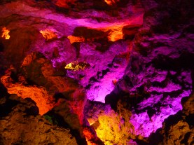 this cave like structure was illuminated in changing colours
