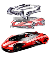 Ferrari World Design Contest 1st place Winner - Eternita Sketches
