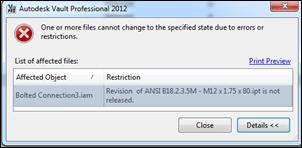 Autodesk Vault Professional 2012 Release Error