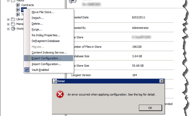 Vault | Export config from ADMS error