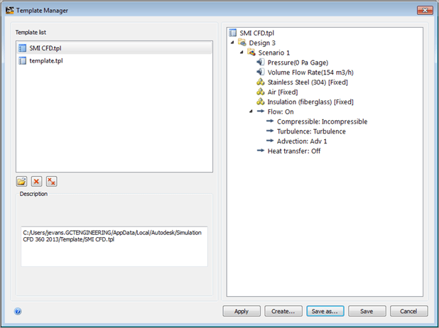 Autodesk Simulation CFD 360 2013 Settings Template
