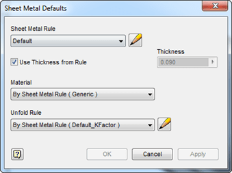 Autodesk Inventor Sheet Metal Defaults