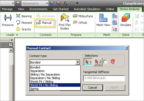 Autodesk Inventor 2013 Stress Analysis Contacts
